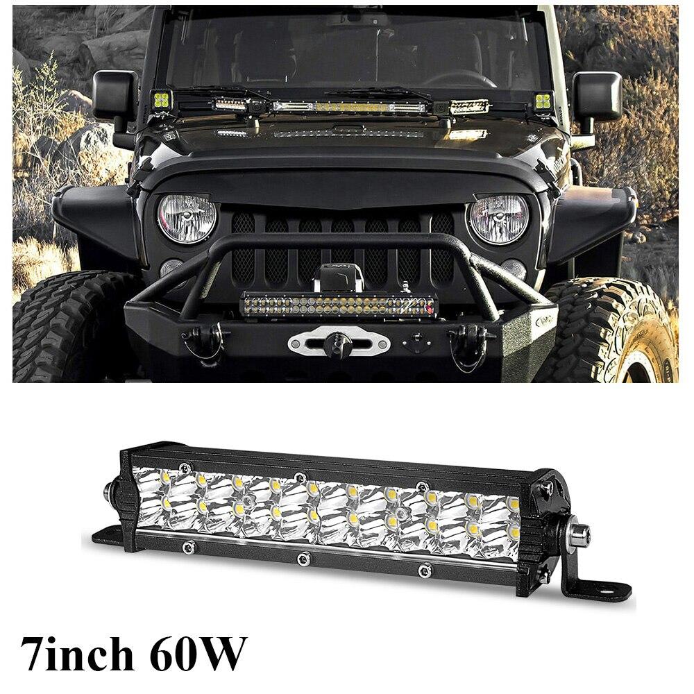 LED robocza listwa oświetleniowa 7 cali 60W Spot Beam podwójny rząd Ultra cienki barra led 4x4 dla samochodów ciągnik łódź OffRoad 4WD ciężarówka SUV ATV 12V 24V