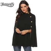 Benuynffy Schwarz Stehkragen Zweireiher Mantel Mantel Frauen Elegante Sleeveless Poncho Mantel Weiblichen Herbst Woll Cape Mäntel