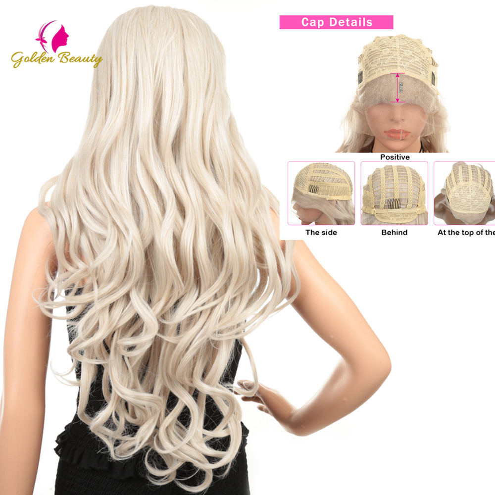 Golden Beauty 28inch Long Loose Wave Wig Blonde Silver Grey Synthetic Lace Front Wigs Bouncy Curly Party Cosplay wigs for Women