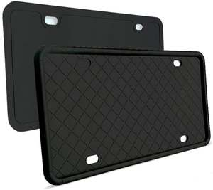 Cover with 3-Drainage-Holes Silicone License-Plate-Frame Weather-Proof 2pcs