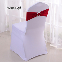 Spandex Chair-Covers-Bands Buckle-Slider Sashes-Bow Stretch Wedding-Decorations Lycra