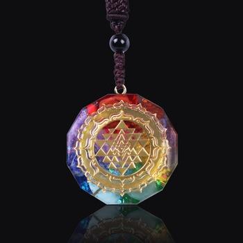 Orgonite Pendant Sri Yantra Necklace Sacred Geometry Chakra Energy Necklace Meditation Jewelry 1
