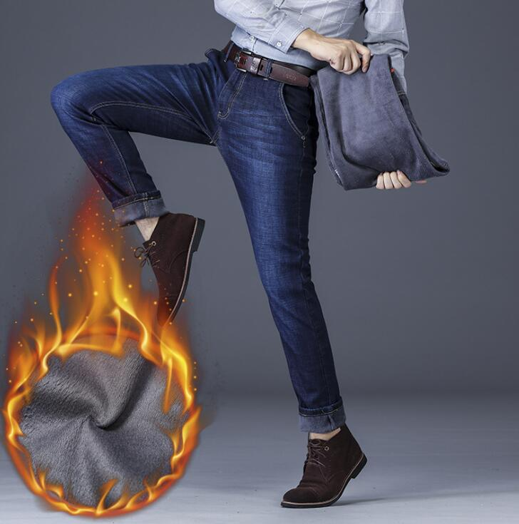 Hot Sales Winter Thicken Mean Jeans Stretch Denim Warm High Quality Long  Pants For Male