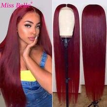# 99j borgonha parte do laço perucas de cabelo humano para as mulheres borgonha reta peruca dianteira do laço brasileiro 13*6*1 t parte do laço perucas de cabelo humano