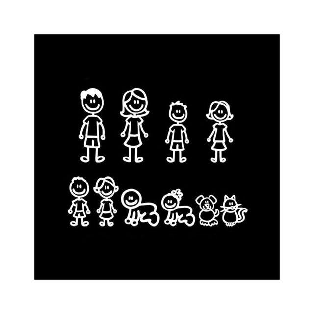 מותאם אישית קריקטורה בני משפחה רכב מדבקת מדבקות מקל רכב סטיילינג רכב קישוט