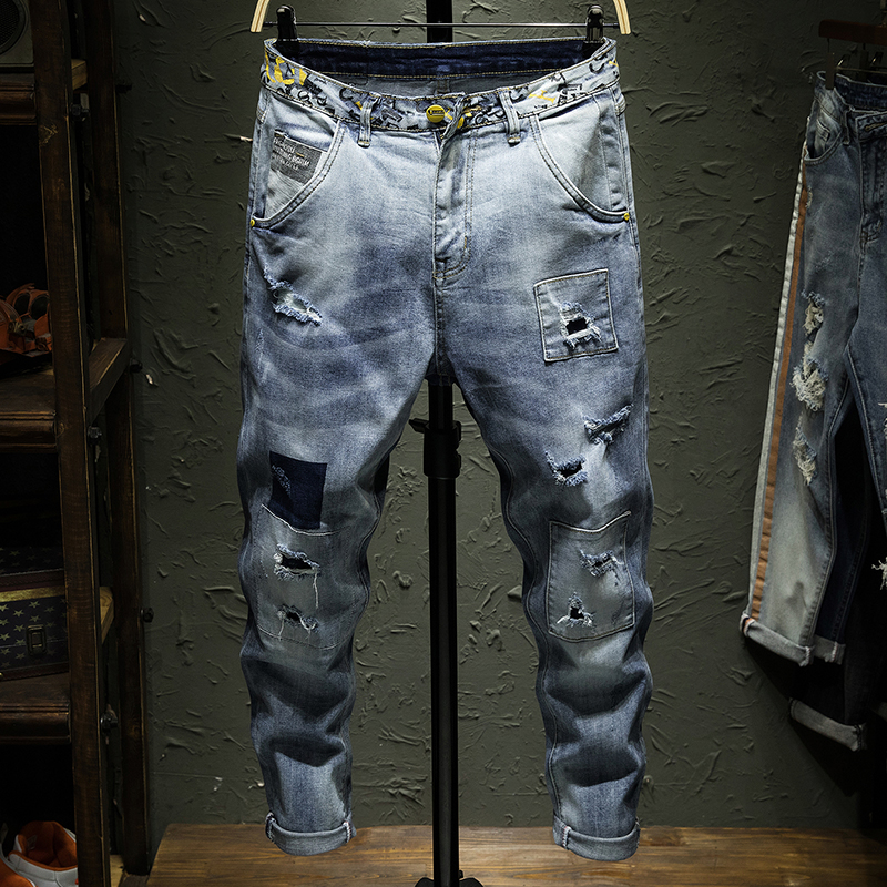 High quality Stretch denim Skinny Jeans men Streetwear Destroyed Ripped Jeans Homme Hip Hop Broken Patch hole Pencil Biker Pants