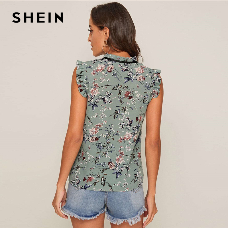 SHEIN Contrast Tie Neck Frill Trim Floral Top Women 2020 Summer Stand Collar Sleeveless Ladies Cute Tops and Blouses Women Women's Blouses Women's Clothings cb5feb1b7314637725a2e7: Dusty Pink|Green|YELLOW