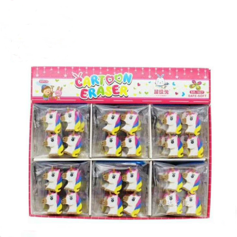 4 Pcs/pack Cartoon Mini Animal Unicorn Rubber Pencil Erasers Office School Student Correction Eraser Stationery Kids Prize Gift