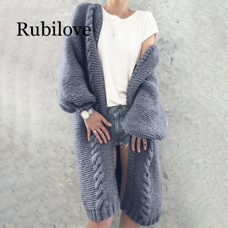 Rubilove Solid Color Knitted Cardigan Plus Size Fall Winter Elegant Lady Long Sleeve Casual Loose Long Section Cardigan Sweater
