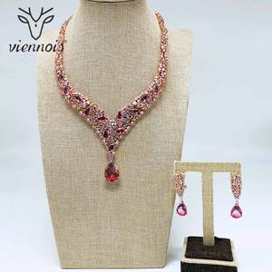 Image 2 - Viennois Trendy Jewelry Set for Women Colorful Zirconia Necklace and Earrings Jewelry Set Fashion Jewelry Set for Women