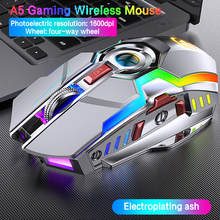 A5 7 Keys Silent Gaming 1600DPI 2.4G Wireless Mouse Ergonomic Optical Mice for Laptop PC Computer Backlight Mouse Rechargeable