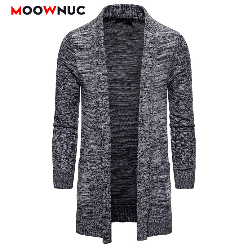 Cardigan Men Fashion Long Sweaters Winter Male Solid Warm Autumn Spring Brand MOOWNUC Homme Sweaters Casual Slim Windproof New