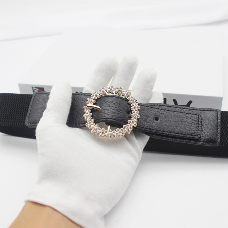 Belts For Women Circular Set With Diamonds PU Decoration High Quality Waist For All-Match Casual Belts 2020