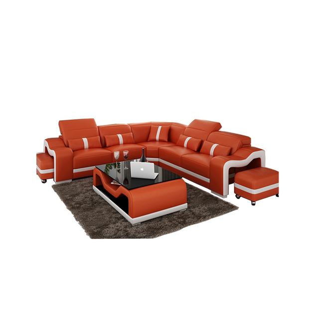 living room Sofa set диван мебель кровать muebles de sala L shape genuine leather sofa cama puff asiento + centro coffee table