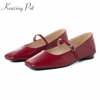 Krazing Pot 2020 summer brand shoes mary janes superstar genuine leather solid color square toe flats plus size dance shoes L22