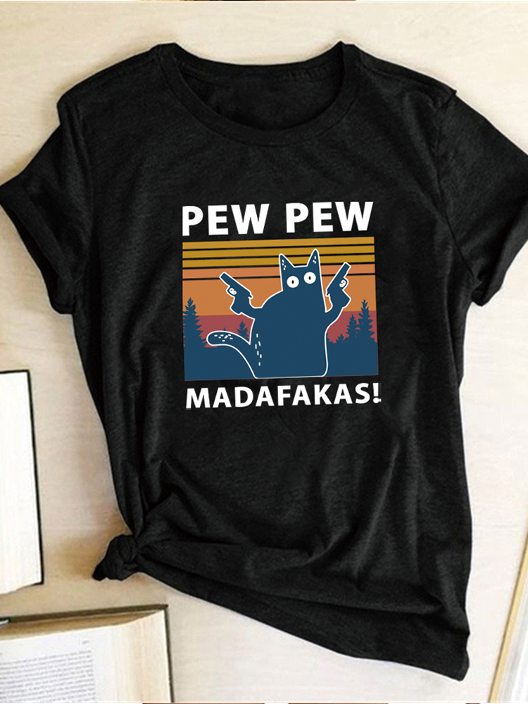 Pew Pew Madafakas Print T-shirts Women Summer 2020 Graphic Tees Funny Shirts For woman
