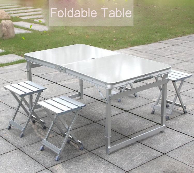 One Set Foldable Table Chair Aluminum Outdoor Camping Table Chair Adjustable Table BBQ Portable Lightweight Desk складной стол