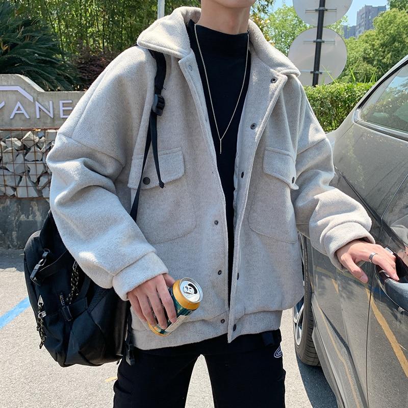 Winter Thick Shorts Woolen Coat Men's Warm Fashion Solid Color Casual Woolen Jacket Men Streetwear Loose Korean Woolen Coat Mens