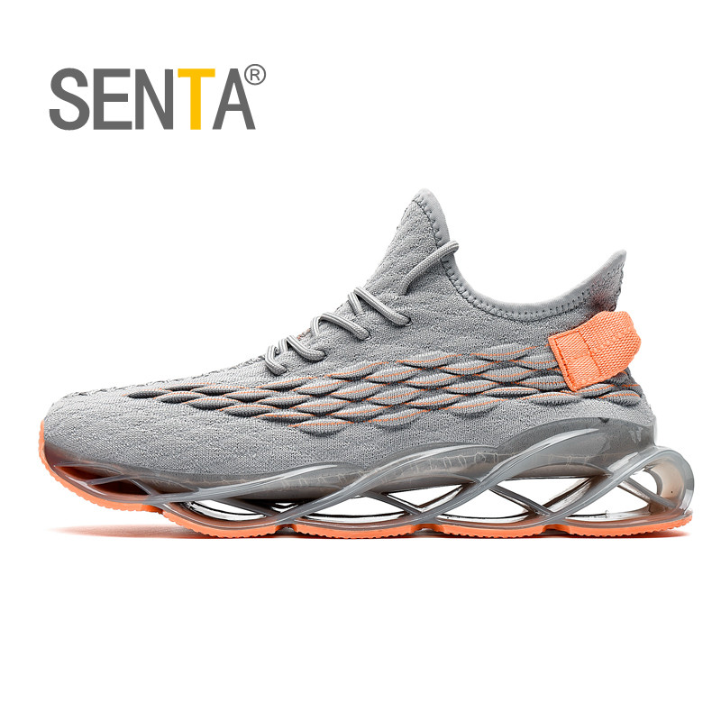 SENTA Blade Reflective Running Shoes For Men Breathable Mesh Sneakers Non-Slip Cushioning Sole Athletic Sports Shoes Zapatills