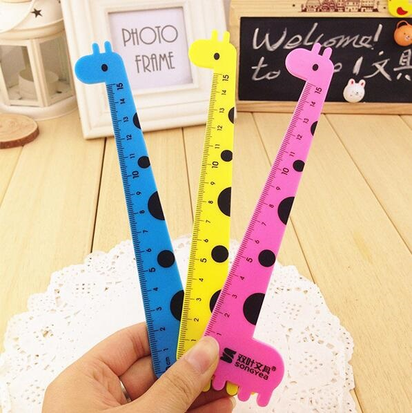 1pcs/lot  Creative Cartoon Giraffe Alpaca Elephant Design Plastic Straight Ruler For Student School Stationery