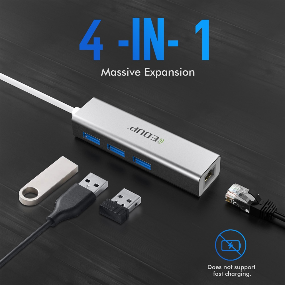 Lisin USB 3.1 Type C to Gigabit Ethernet Network with USB 2.0 Hub 3-port Cable LAN RJ45 Adapter Combo for New Macbok