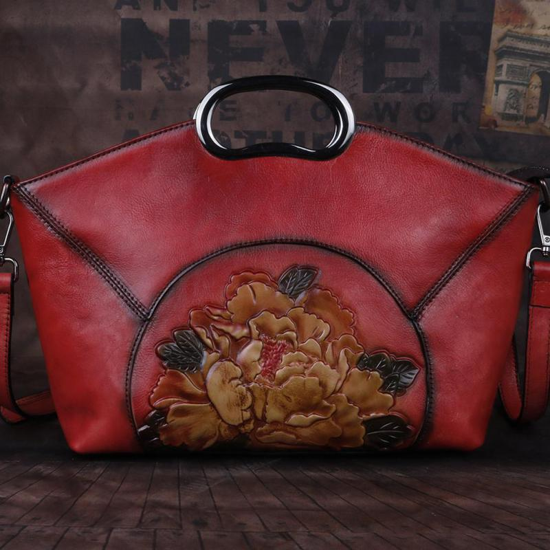 Image 3 - Johnature Luxury Handbags Women Bags Vintage High Quality Genuine  Leather 2020 New Handmade Embossing Shoulder