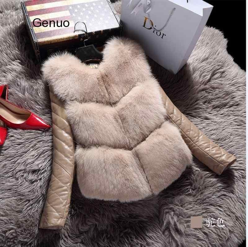 Женские куртки, жилет, модное осенне-зимнее пальто, Теплый Женский жилет из искусственного меха лисы, Высококачественная тонкая куртка, верхняя одежда, черный, серый