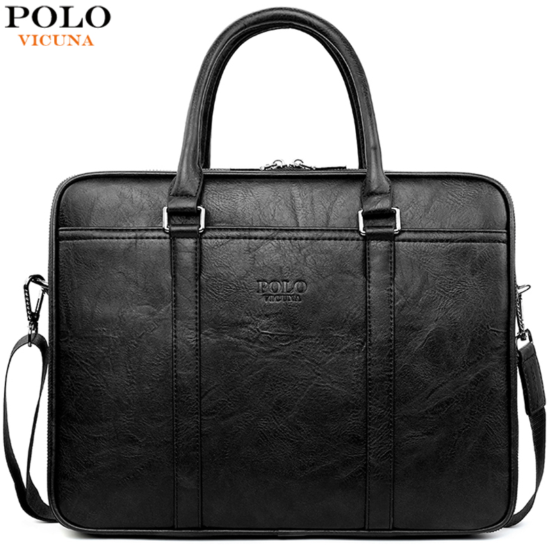 VICUNA POLO Large Capacity Multideck Brand Business Man Bag Leather Men's Briefcase Bag Men Work Shoulder Bag Leather Handbag