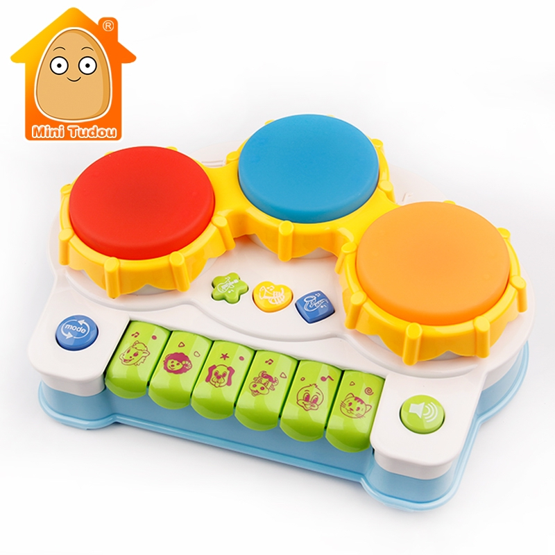 Piano And Drum 2 IN1 Toy Musical Instrument Baby Fitness Hand Drum Toy With Music Light Educational Toys For Children
