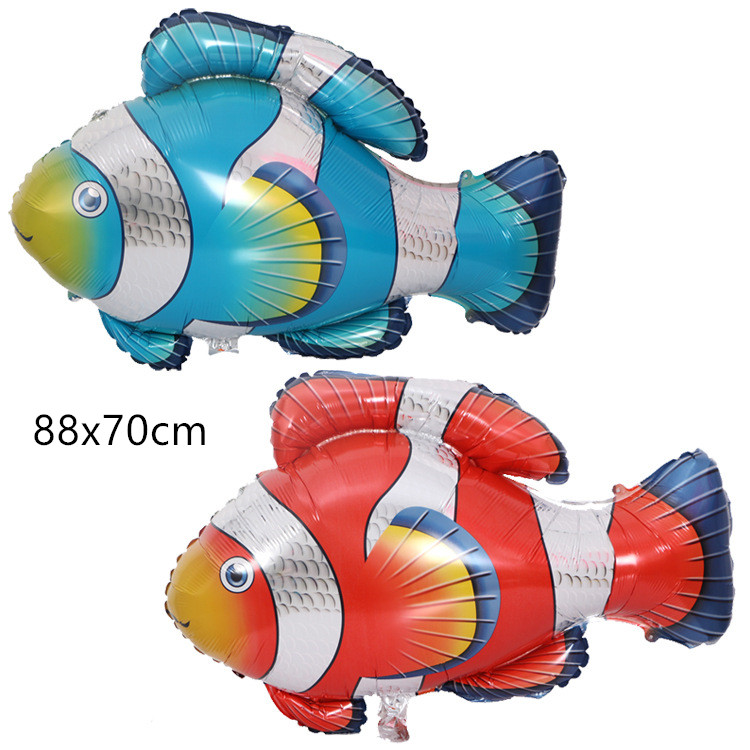 Cartoon Hat  Big   Fish Foil Balloon Ocean Animal Theme Party Kids Gifts Birthday Party Decoration Helium Balloon