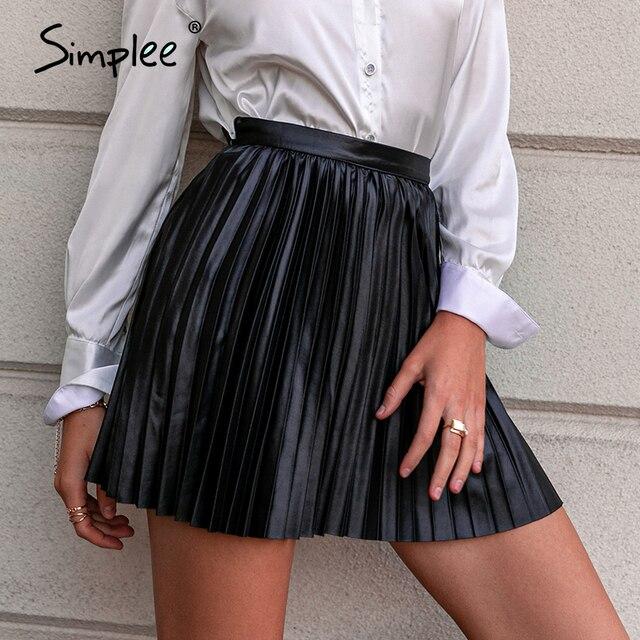 Simplee Fashion black women pleated skirt A-line high street sexy mini skirt 2020 Autumn winter high waist short skirts female 2