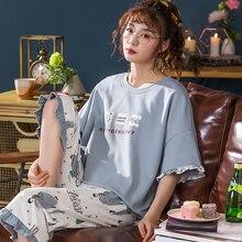 여성을위한 가정 의류 잠옷 반팔 세트 여름 4XL 잠옷 femme pijamas 여성용 잠옷 플러스 사이즈 잠옷