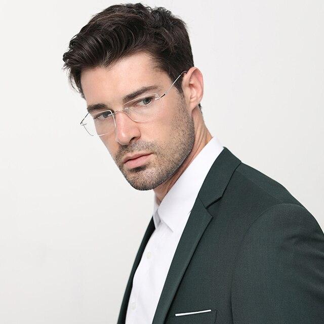 التيتانيوم الرجال بدون إطار نظارات النساء شفافة النظارات قصر النظر البصرية الأعمال واضح مشهد إطار الموضة # CT001