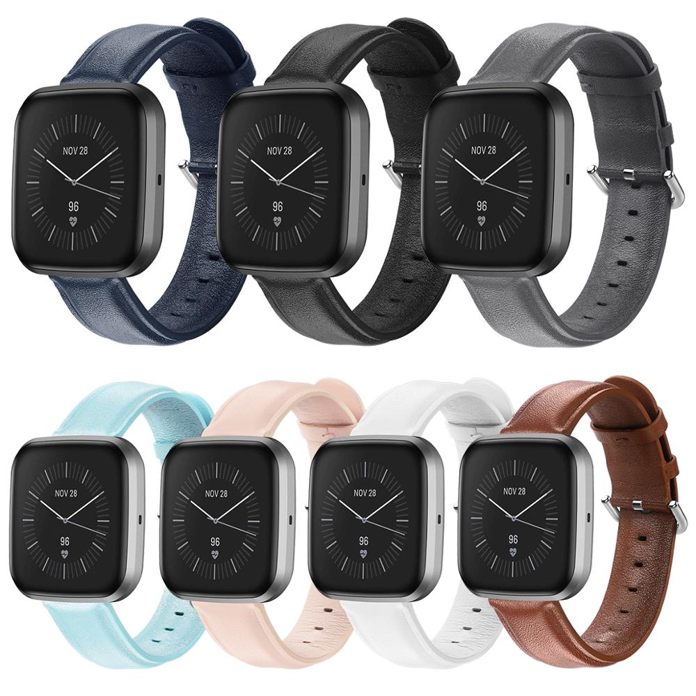 Waterproof Leather Wristband Strap For Fitbit Versa 2 Smart Watch Replacement Bracelet Band Strap For Fitbit Versa / Versa Lite