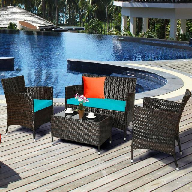4PCS Rattan Patio Furniture Set 3