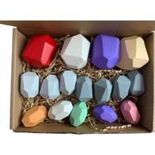 16 шт Детские деревянные цветные каменные укладки игры строительные