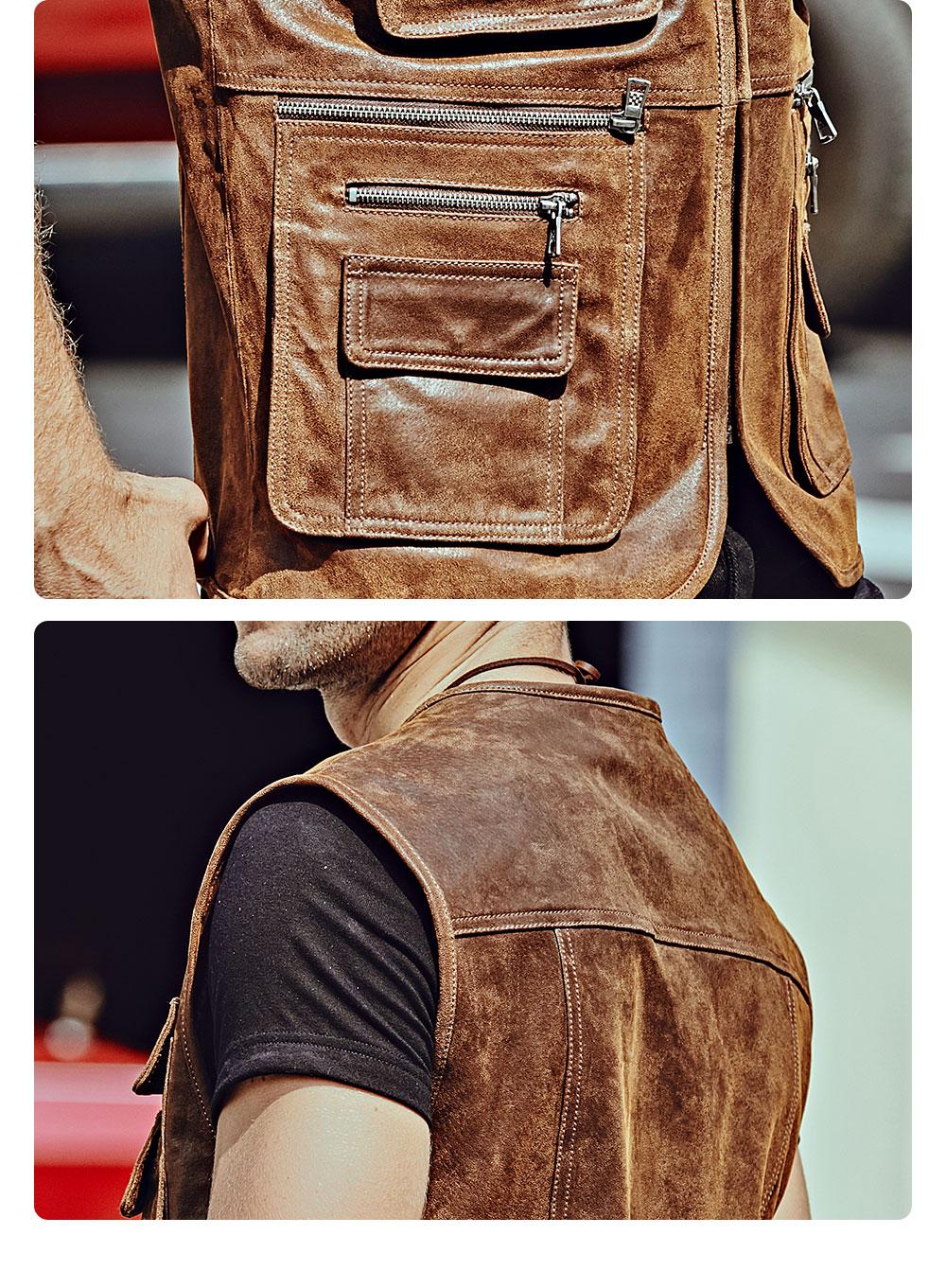 H2bba4eb5e5d14152bcba93368deae54e5 FLAVOR New Men's Real Leather Vest Men's Motorcycle Fishing Outdoor Travel Vests