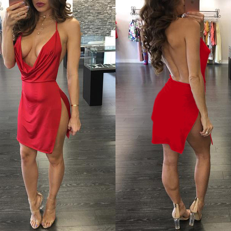 Backless Strap Dress Side Open Deep V-neck Sexy Dress Temperament Mini Dress Vintage Clothes Dropshipping Dress Women Ropa Mujer 3