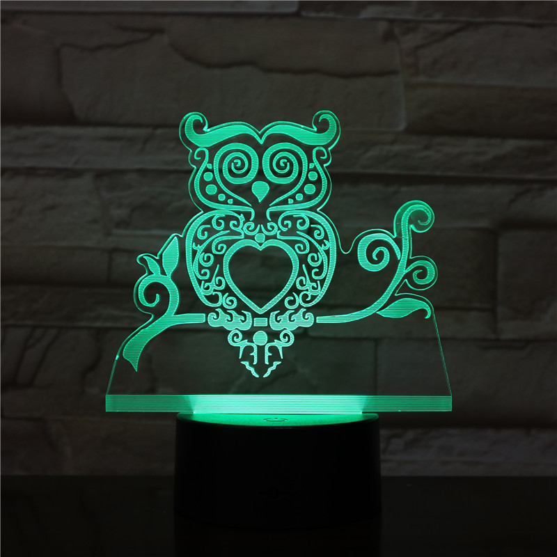 3D Led Owl Lamp 7 Colors Change Hologram Luminarias Cartoon Cute Bird Shape Usb Night light 80CM Cable Home Decoration 2352 image