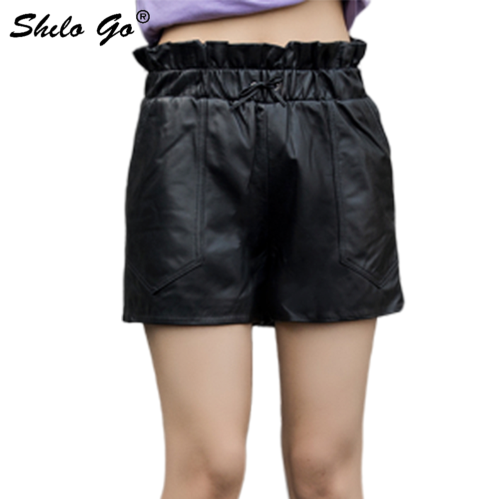 Genuine Leather Shorts Black Ruffles Detail Drawstring Waist Wide Leg Shorts Women Autumn Casual Solid High Waist Boots Shorts