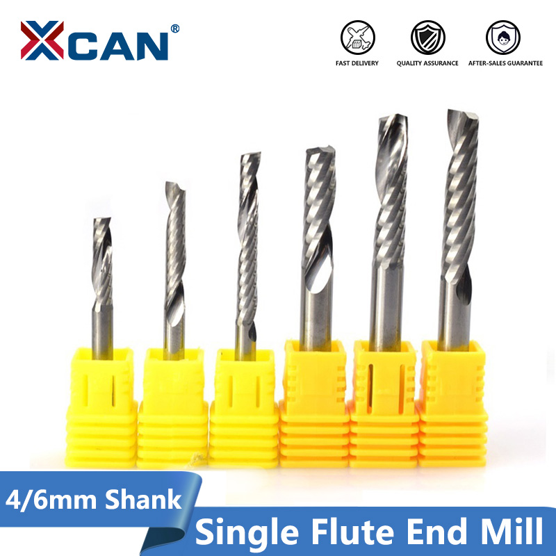 XCAN 1pc Single Flute Spiral End Mill Carbide Milling Cutter CNC Router Bit Straight Shank End Mills