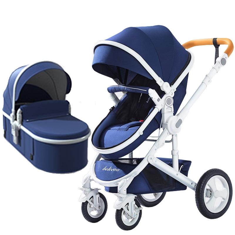 Belecoo bébé poussette haut paysage 2 en 1 bébé voiture deux voies bébé poussette pliable portable chariot