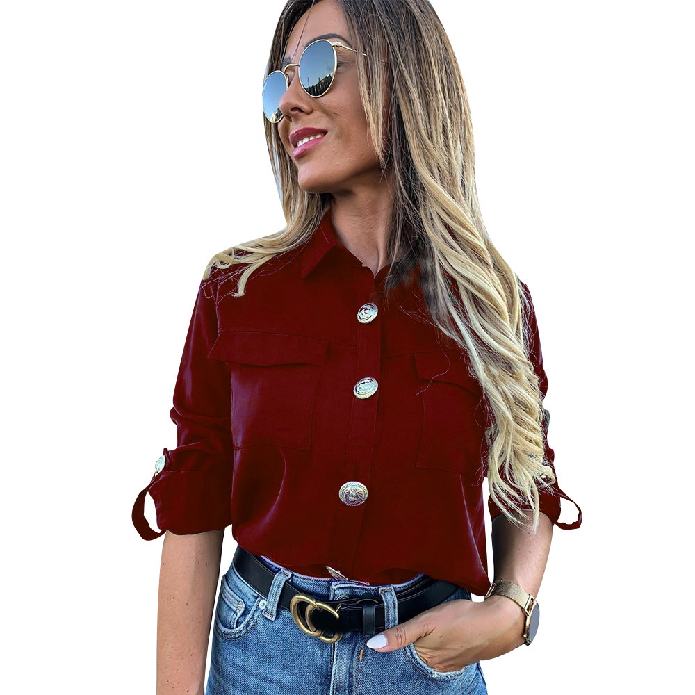 H2bbaaf5cbdff42889e5133dfd173f10ei - Vintage Long Sleeve Pocket Shirt For Women Autumn Tops Blouse Turn Down Collar Khaki White Black Shirt Fashion Female Blusas D25