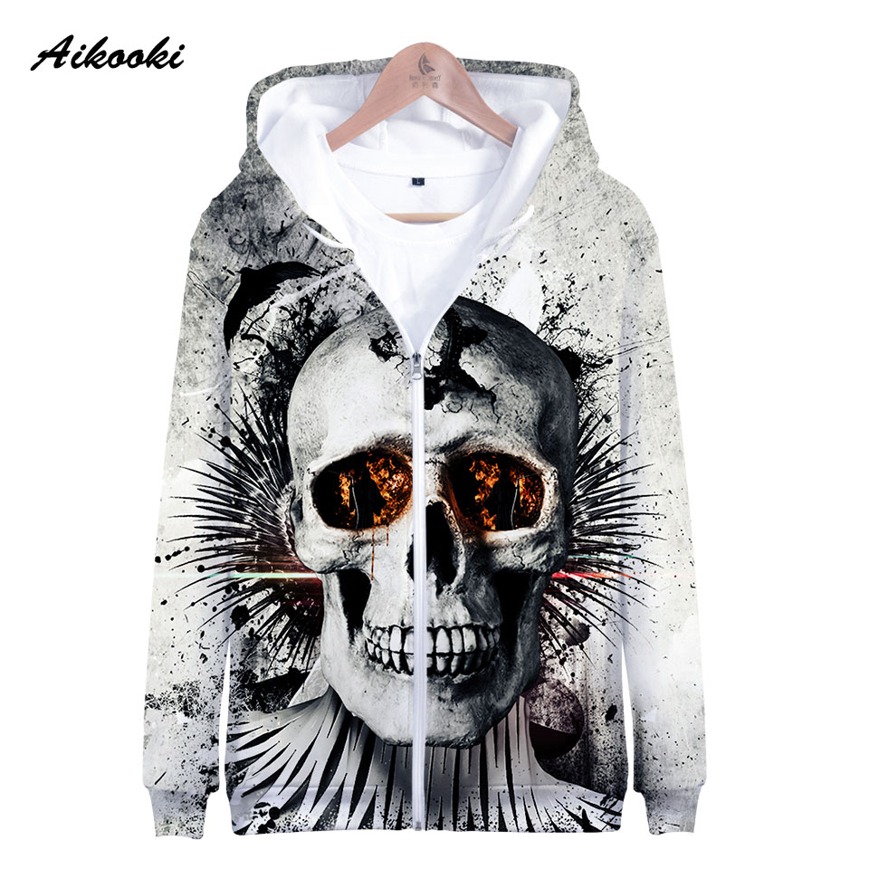 Aikooki Zipper Hoodies Autumn Sweatshirts Men/women Fashion Skull Cool Polluvers