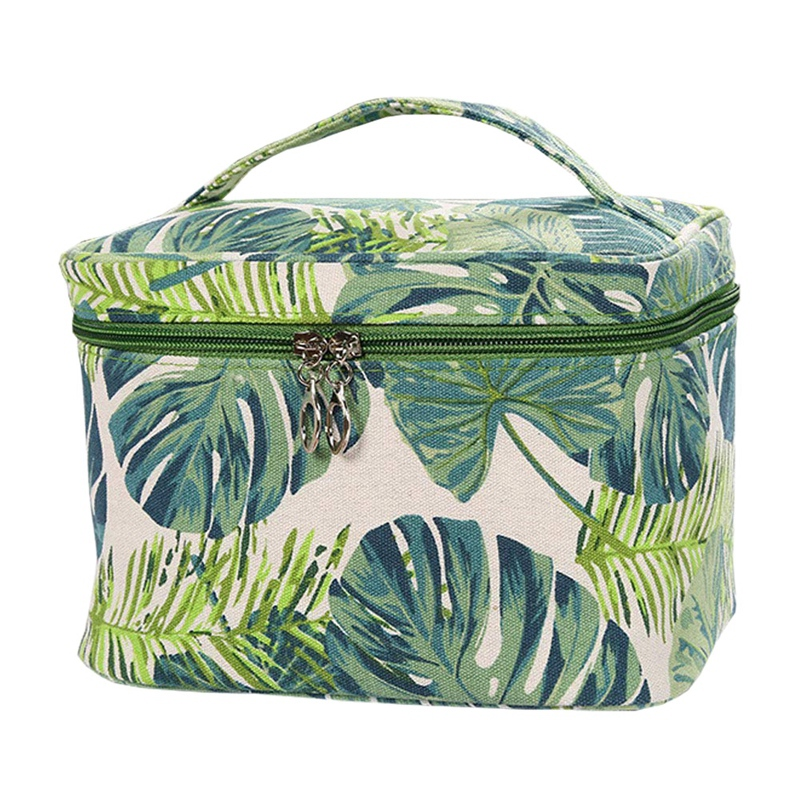 FGGS-Canvas Makeup Bags Womens Cosemetic Pouch Travel Clutch Purse Green Leaves Handbag Organizer With Zipper