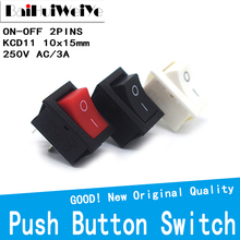 Switch KCD1 10x15mm Snap-In-On/Off 10pcs 250V Push-Button Black 117S White Red 3A 2pin