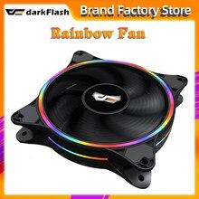 DarkFlash D1 120mm PC coque d'ordinateur ventilateur LED RGB Double halo arc-en-ciel 12cm muet 12V 4pin dissipateur thermique refroidisseur silencieux ventilateur