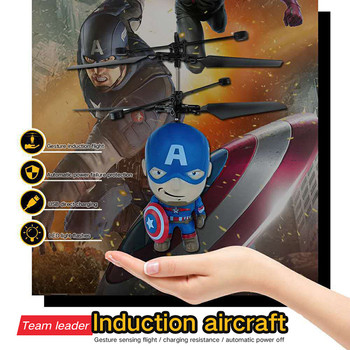 Spider-Man Drone Anti-collision Flying Helicopter Aircraft Sensing Mini Induction Drone Kids Electric Electronic Toy
