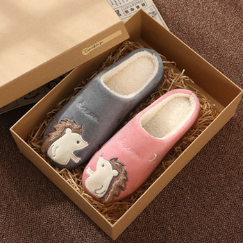 Women Slippers Cartoon Hedgehog squirrel Unicorn Slippers Winter Non-slip Fur House Indoor Outdoor Plush Ladies Shoes Men Couple 2