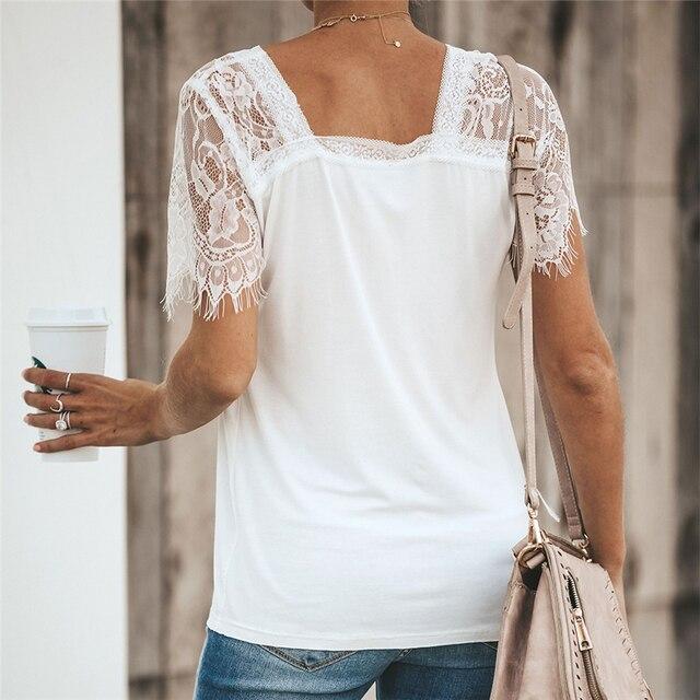 Camiseta de encaje, Tops para mujer, Camiseta con cuello en V, camiseta Sexy de verano, Camiseta ajustada de manga corta, nueva camiseta 2020, ropa de mujer, camisas 2